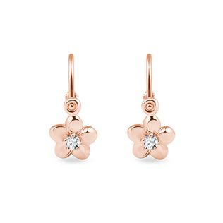 Children's diamond blossom earrings in rose gold