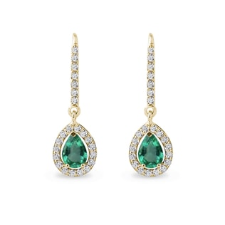 Gold diamond earrings with emeralds