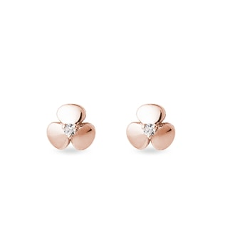 Children's shamrock diamond stud earrings in rose gold