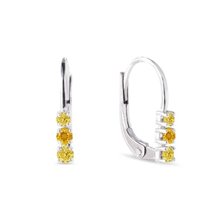 Yellow sapphires earrings in white gold