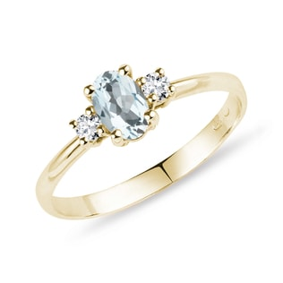 Aquamarin Ring mit Diamanten