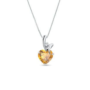 Citrine and diamond heart pendant in 14kt gold