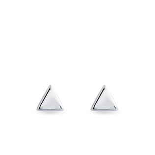 Triangle-shaped earrings in white gold