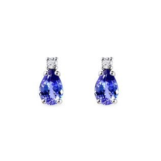 Tanzanite earrings with diamonds in white gold