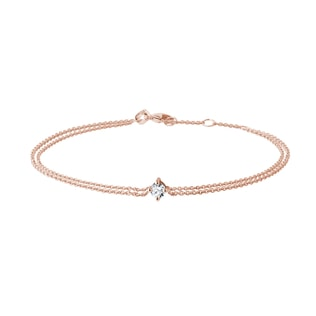 Bracelet double en rose et diamant