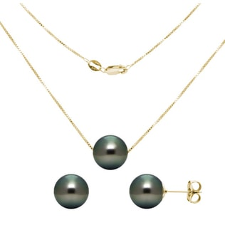 Tahitian pearl earring and necklace set in yellow gold