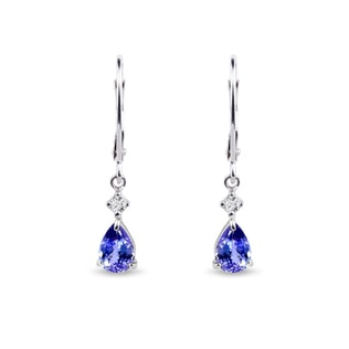 Padlocks earrings made of white gold with tanzanite
