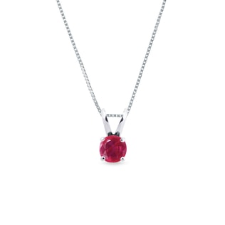 Ruby necklace in 14k white gold