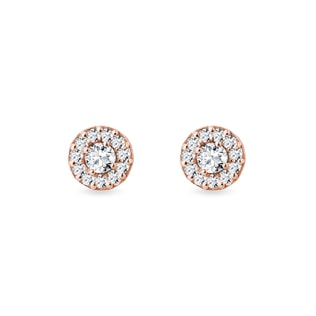 Earrings with diamonds pink gold