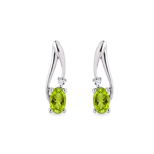 Peridot Ohrringe mit Diamanten in Weißgold