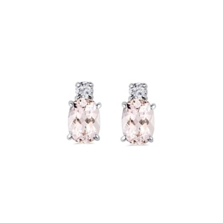 Boucles d'oreilles fines en or blanc et morganite