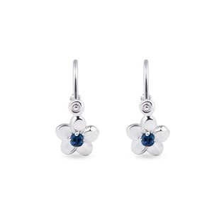 Children's sapphire flower earrings in white gold