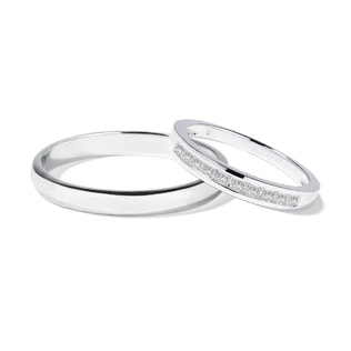 Alliances de mariage en or blanc et diamants