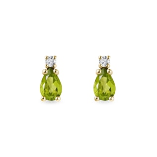 Peridot Ohrringe mit Diamanten in Gelbgold
