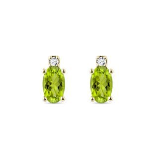 Olivine and diamond stud earrings in gold
