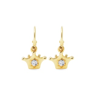 Gold crown-shaped earrings