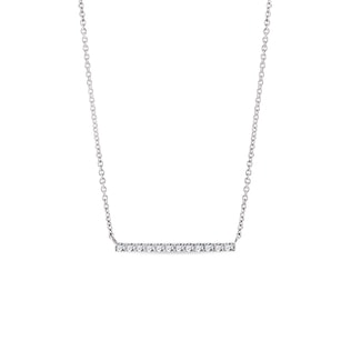 Diamond horizontal bar necklace in white gold
