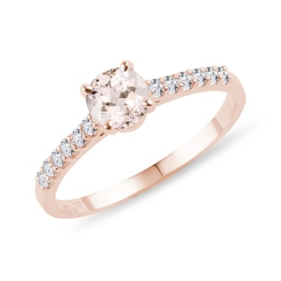 Morganite and diamond band engagement ring in rose gold