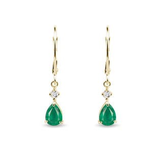 Gold pendant earrings with emeralds and diamonds