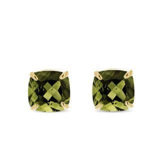 Moldavite stud earrings in gold