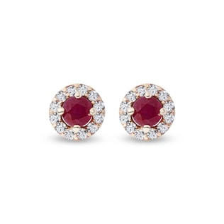 Ruby earrings with diamonds