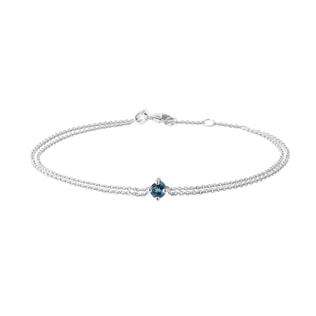 Topaz double chain bracelet in white gold