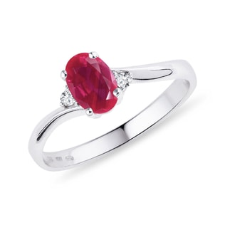 Ruby and diamond ring in sterling silver