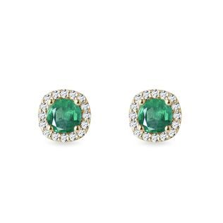 Luxury emerald and diamond earrings in yellow gold