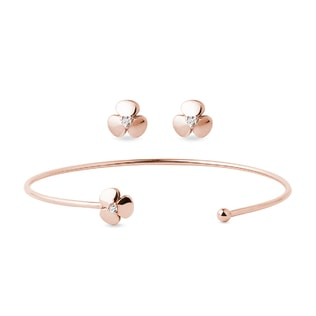 Shamrock diamond bracelet and earring set in rose gold