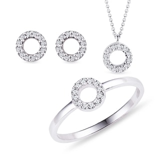 Diamond halo necklace, earring, and ring set in white gold