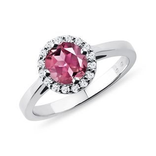 Tourmaline and diamond halo ring in white gold