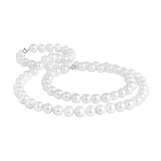 Pearl necklace and bracelet set in silver