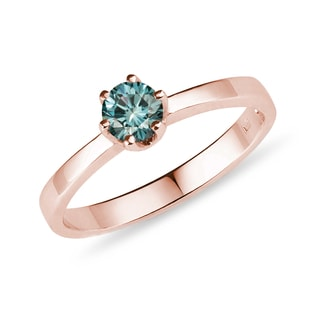 Blue diamond ring in rose gold