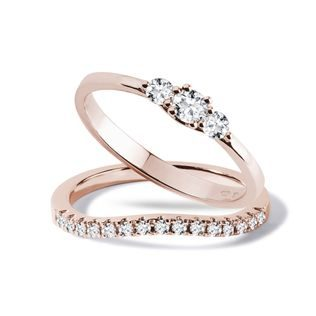 Rose gold engagement and wedding ring set