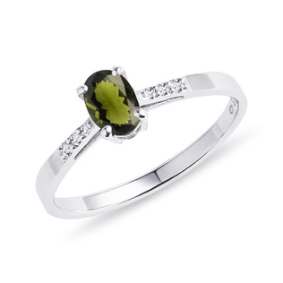 Moldavite and diamond ring in silver