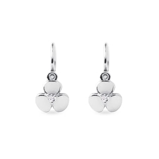 Children's diamond shamrock pendant earrings in white gold