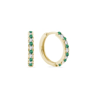 Gold earrings with diamonds and emeralds