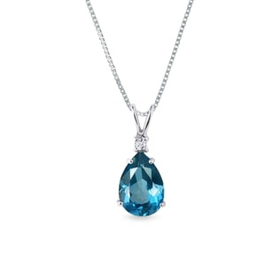 Topaz and diamond pendant in 14kt gold