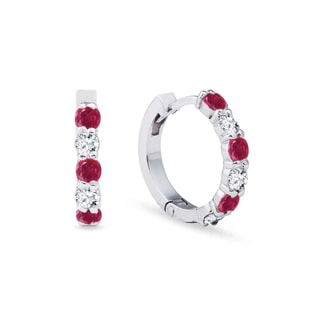 Ruby earrings with diamonds in white gold