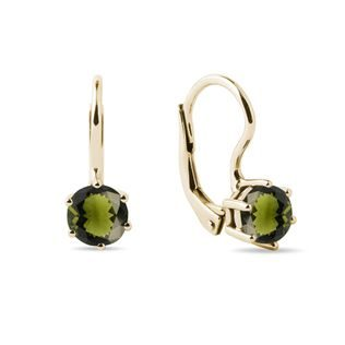 Round moldavite earrings in yellow gold