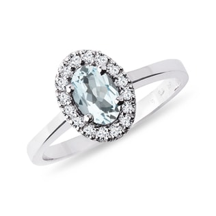 Bague en or avec diamants et aigue-marine