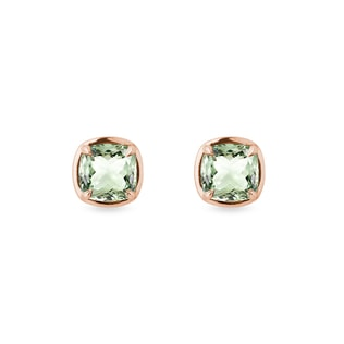 Green amethyst earrings in rose gold