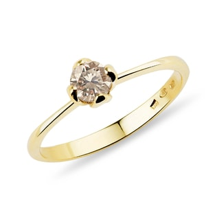 Champagne diamond ring in yellow gold