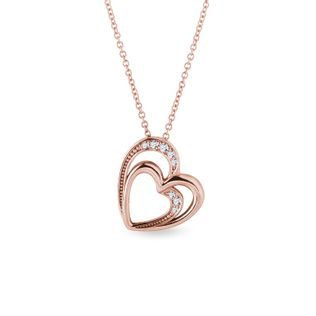 Diamond double heart necklace in rose gold