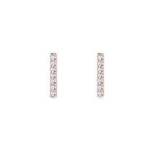 Small diamond stick earrings in rose gold