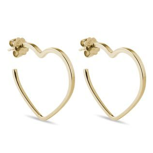 Heart-shaped earrings in yellow gold