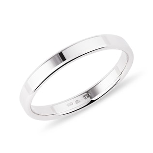 Modern women's wedding ring in white gold