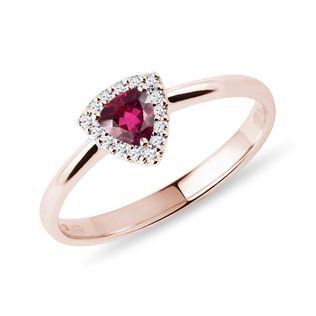 Rubellite and diamond ring in rose gold