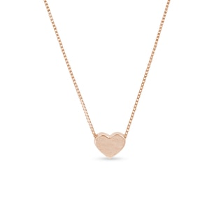 Matte heart-shaped necklace in rose gold