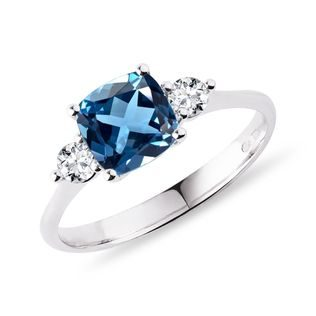 London blue topaz and diamond ring in white gold